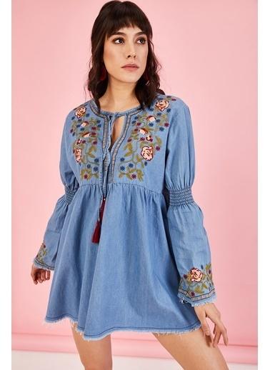 ESQ Nakışlı Püsküllü  Kot Elbise Mavi